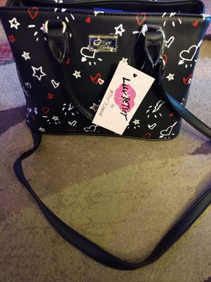 Betsey Johnson satchel handbag NWT black with red white and gold stars and lightening bolts for Sale in Stickney, IL