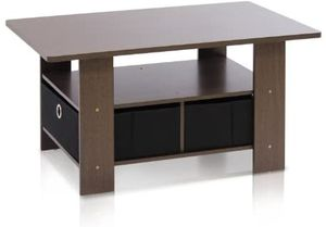Coffee Table with Bins, Dark Brown/Black - Great Furniture for Home Office Living Room Etc for Sale in Los Angeles, CA