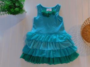 Hanna Andersson Girls 80 18-24M Turquoise Soft Tulle Tiered Ruffle Dress for Sale in Tacoma, WA
