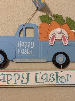 Easter Sign Blue Truck With Carrots for Sale in San Antonio,  TX