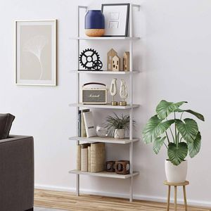 NATHAN JAMES 65504 THEO 5-SHELF WOOD LADDER BOOKCASE WITH METAL FRAME, GRAY OAK/WHITE for Sale in Glendale, AZ