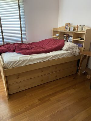 Full size mattress and solid wood bed frame with storage under for Sale in Arcadia, CA
