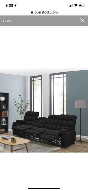 Strick and Bolton Saskia Black microfiber 4 seat storage reclining sofa for Sale in Maple Valley, WA