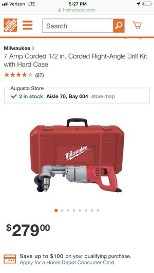 Milwaukee 7 amp right angle drill kit for Sale in Macon, GA