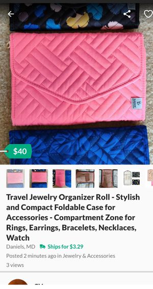 Travel Jewelry Organizer Roll - Stylish and Compact Foldable Case for Accessories - Compartment Zone for Rings, Earrings, Bracelets, Necklaces, Watch for Sale in Daniels, MD
