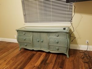 Antique 6 drawer and cabinet teal dresser for Sale in Pembroke Park, FL