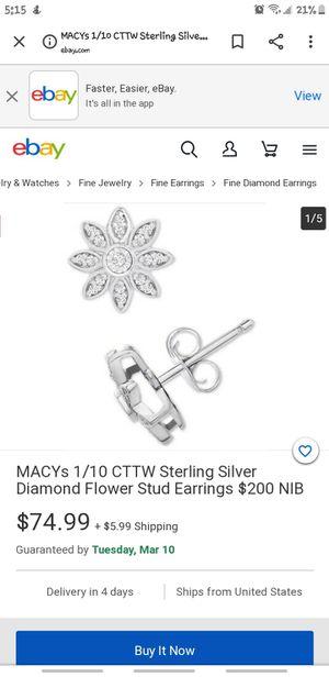sterling silver Diamond flower stud earrings for Sale in Clackamas, OR
