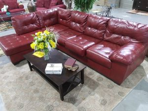 Red Leather Sectional Couch for Sale in Stockbridge, GA