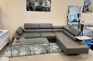 Grey faux leather sofa sectional with adjustable headrest ⭐️FINANCING AVAILABLE for Sale in Boca Raton, FL