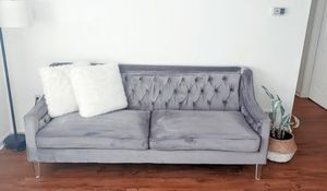 Metal Grey velvet sofa with 2 pillows for Sale in Lexington, KY