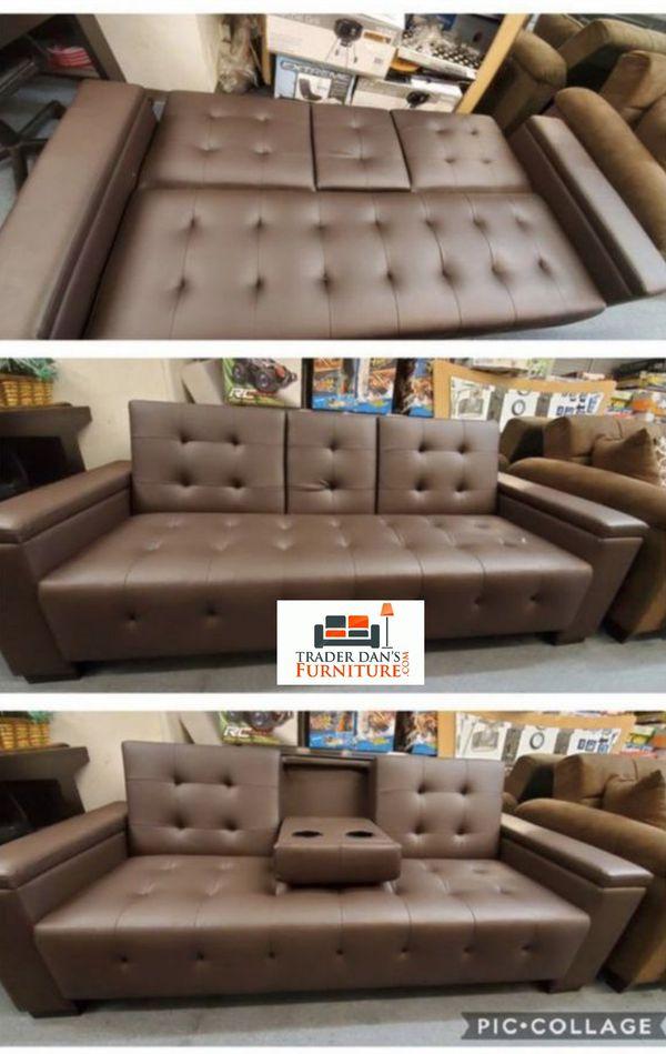 Brand New Espresso Faux Leather Futon Sofa Bed