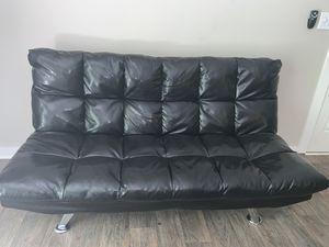 Black leather futon for Sale in Smyrna, GA