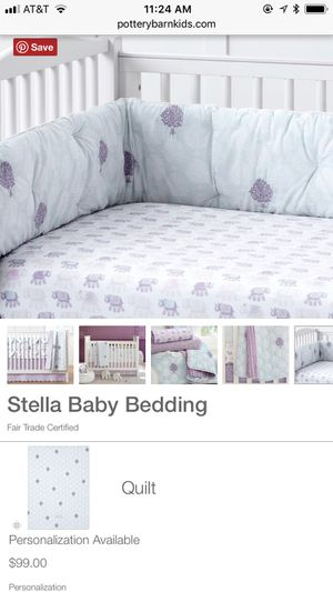 Stella collection baby crib bumper from pottery barn for Sale in San Diego, CA