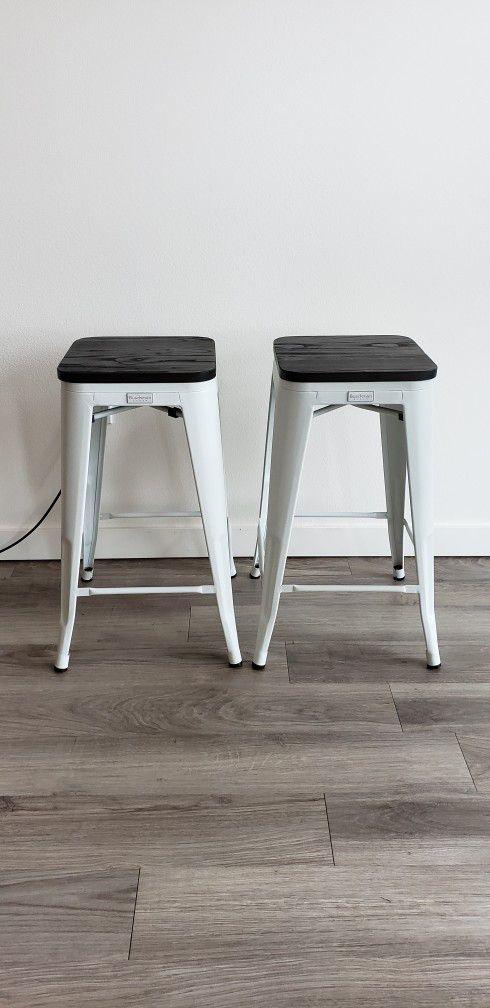 "Buschman Matte White & Wooden Seat Counter Height Metal Bar Stools (26"" Height), Set of 2"