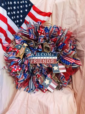 Stars & Stripes Patriotic Front Door Wreath for Sale in Canyon Lake, TX
