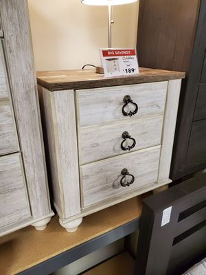 Nightstand with 2 slim USB Ports, Whitewash for Sale in Garden Grove, CA