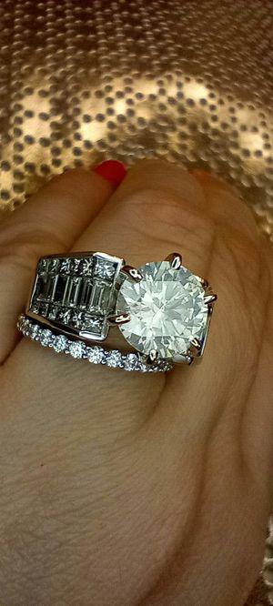 5 carat diamond engagement ring set certified 18k white gold for Sale in Atlanta, GA
