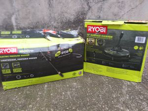 New. Ryobi1,600 PSI 1.2 GPM Electric Pressure Washer And New12 in. 2,300 PSI Electric Pressure Washers Surface Cleaner for Sale in Fort Worth, TX