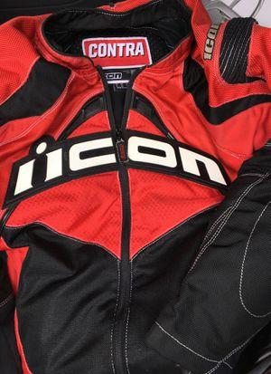 Icon motor bike jocket size m uk40 eu50 cole red for Sale in San Diego, CA