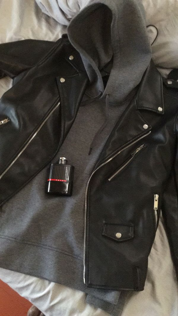 Guess jacket, j crew hoodie and a prada parfume
