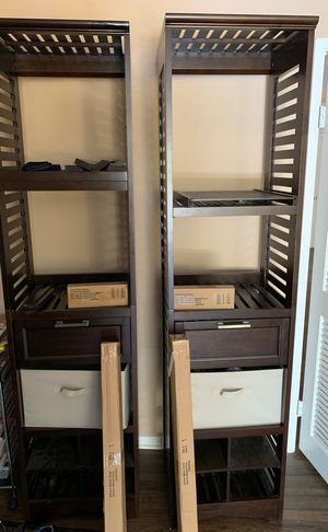 Whalen wood closet organizer with poles and mounts for Sale in San Diego, CA