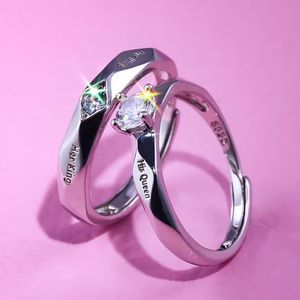 His Queen and Her King Couples Promise Wedding Ring Set Created Diamond 14K White Gold Adjustable Size Letter King and Queen for Sale in Chicago, IL