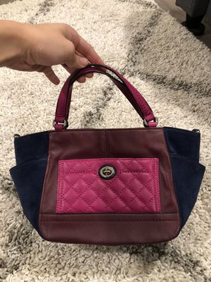 Coach plum navy pink small handbag with strap for Sale in Azusa, CA