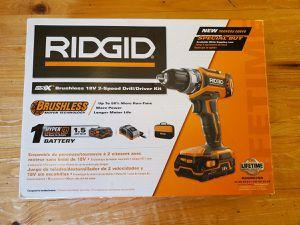 """NEW RIDGID R860053SB GEN5X 18V CORDLESS BRUSHLESS 1/2"""" DRILL KIT for Sale in Overland Park, KS"""