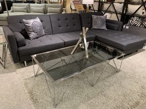 2 piec futon sectional w/chaise and role pillows ( Modern Home Furniture) for Sale in Bothell, WA