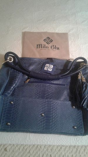MILA BLU Blue Tassel Croc-Embossed Leather Hobo Bag - NEW for Sale in Richmond, CA