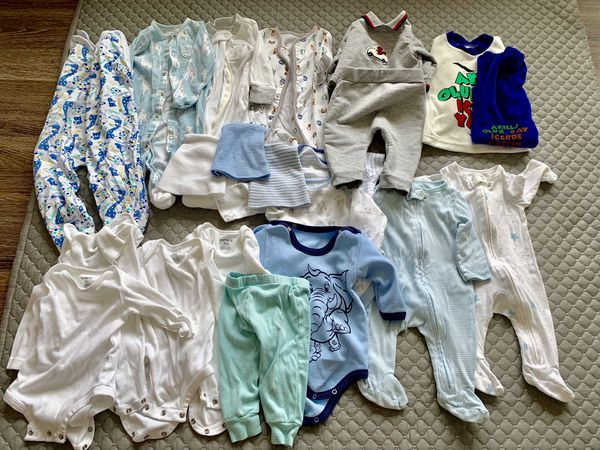 Baby boy clothes 3 months (20 items) plus a Baby Wrap Carrier as a gift