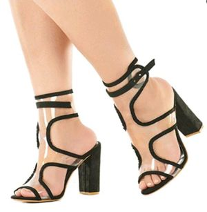 Women sexy clear open toe high heel ankle strapped sandels with block heel for Sale in Rancho Cucamonga, CA