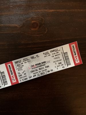 CONCERT: Zac Brown Band Pit Tix- 2 for Sale in Apex, NC