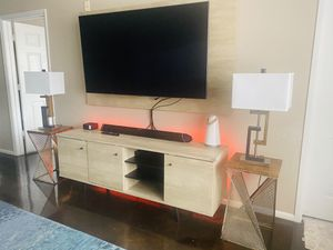 Entertainment Center TV Stand Wall Board and Side Lamps for Sale in Tampa, FL