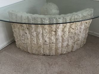 NATURAL STONE TEMPERED GLASS COFFEE TABLE for Sale in Irvine,  CA