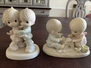 Vintage PRECIOUS MOMENTS Figurines 1984 God Bless Our Home 1990 Hug One Another for Sale in West Chester, PA