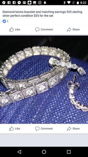 Diamond tennis bracelet and matching earrings 925 sterling silver for Sale in Phoenix, AZ