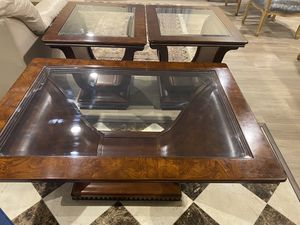 Solid Mahogany Wood Glass Coffee Table & 2 End Tables for Sale in Springfield, VA