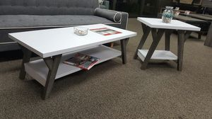 June Coffee Table and End Table, White and Distressed Grey Color for Sale in Garden Grove, CA
