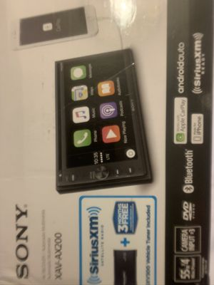 Sony XAV-AX200 In-Dash Receiver CEA-2009 compliant amplifier Works with Apple CarPlay and Android Auto SiriusXM Ready, tuner included! Plug in up to for Sale in Dallas, TX