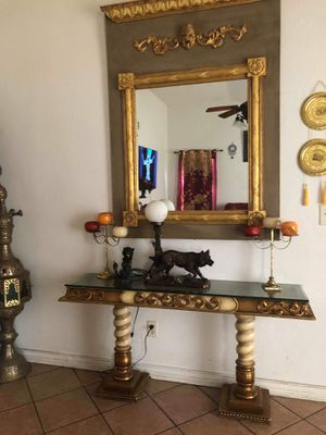 Beautiful elegant gold large wall mirror with matching glass table entry for Sale in Glendale, AZ