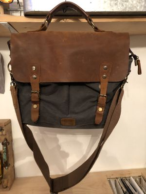 Leather, blue canvas messenger bag for Sale in Oak Glen, CA