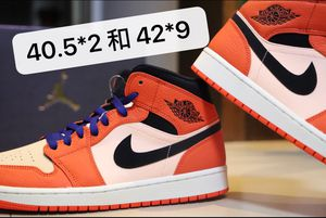 Air Jordan 1 mid team orange black 40.5 and 42 for Sale in Washington, DC
