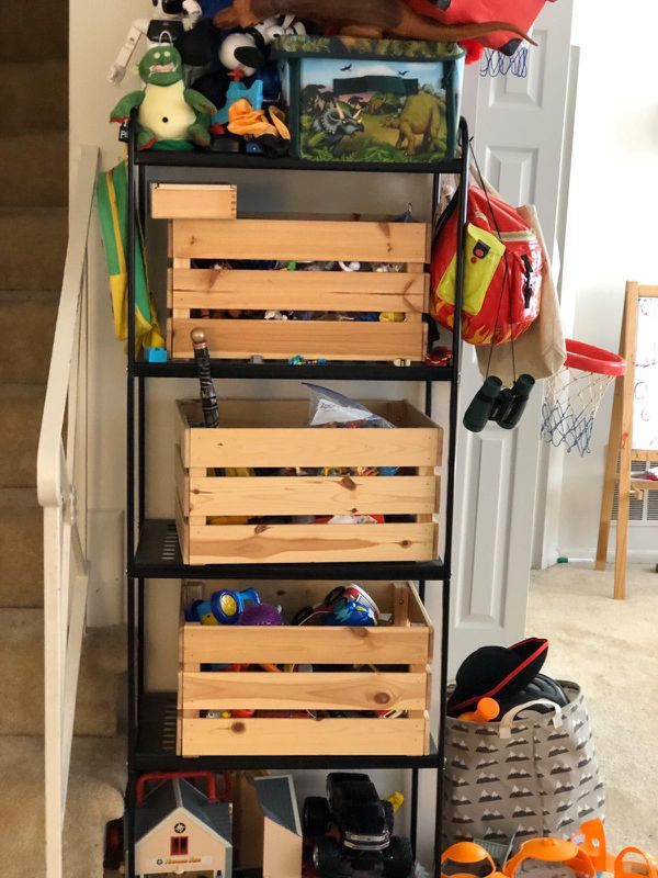 Metal shelf with 3 wooden boxes