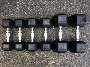 NEW RUBBER DUMBBELLS (PAIRS OF) 15s. 20s. 35s. for Sale in Deerfield Beach, FL