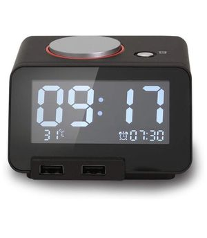 Multi-Function Alarm Clock, Indoor Thermometer, Charging Station/Phone Charger with Dual Port USB for iPhone/iPad/iPod/Android Phone and Tablets, Bl for Sale in Corona, CA