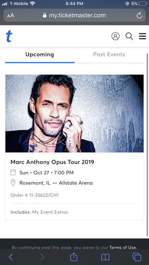 Marc Anthony in Chicago Oct 27 for Sale in Alsip, IL