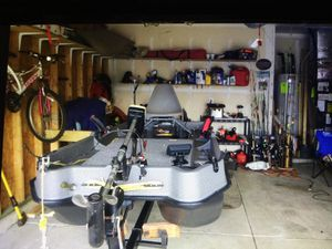 8 foot sun dolphin lowrance fish finder 4 fish pole holders two seats if you want it with carpet transducer with the trailer 1,200 for Sale in Indianapolis, IN