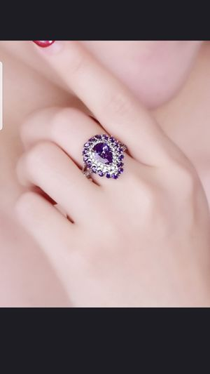 Sterling silver amethyst and white sapphire ring size 8 for Sale in Dundalk, MD