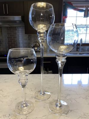 Charisma Set of 3 Hurricanes glass candle holders for Sale in Miami, FL